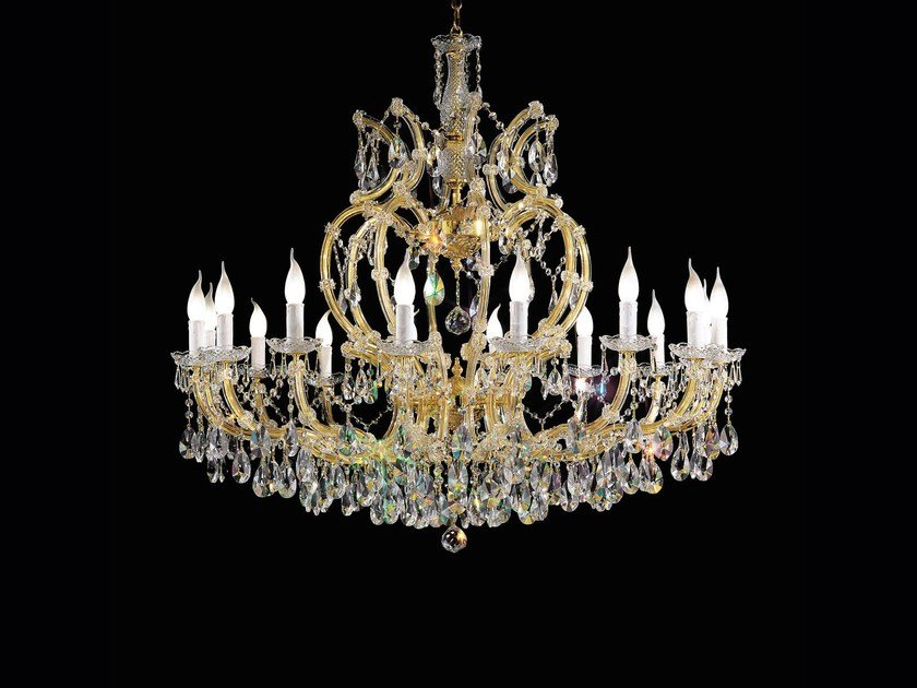 Direct light painted metal chandelier with crystals MARIA TERESA VE 928 by Masiero