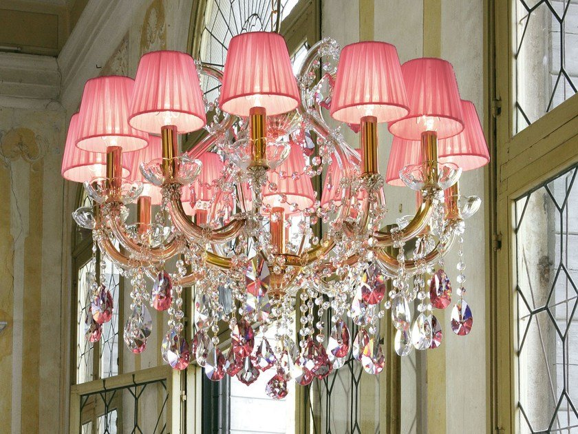 Direct light painted metal chandelier with crystals MARIA TERESA VE 936 by Masiero