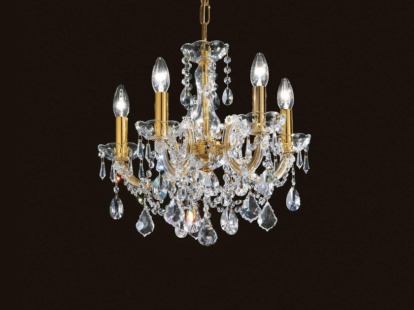 Direct light painted metal chandelier with crystals MARIA TERESA VE 944 by Masiero