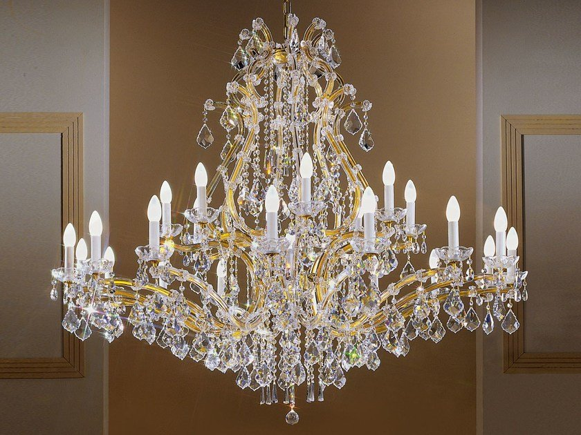 Direct light painted metal chandelier with crystals MARIA TERESA VE 952 by Masiero