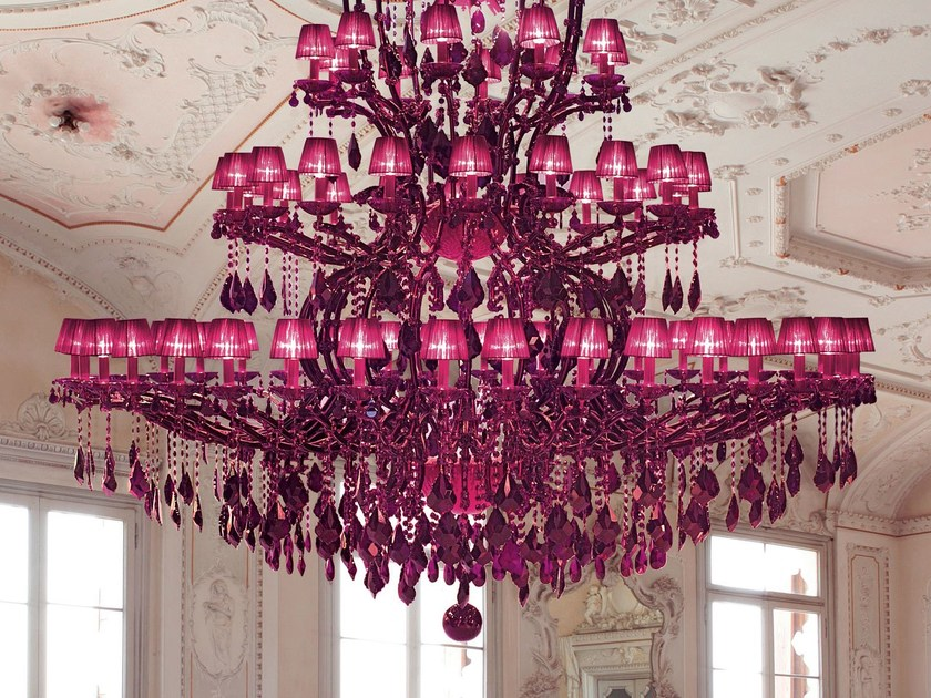 Direct light painted metal chandelier with crystals MARIA TERESA VE 973 by Masiero