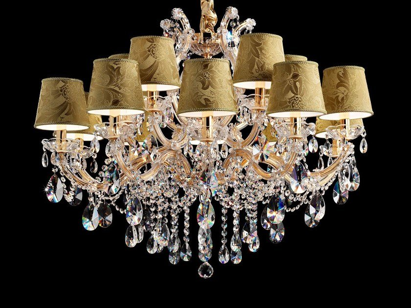 Direct light painted metal chandelier with crystals MARIA TERESA VE 990 by Masiero