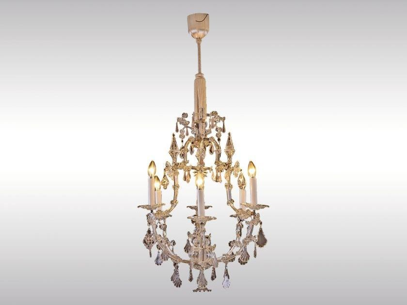 Classic style glass and iron chandelier MARIA THERESIEN LUSTER - Woka Lamps Vienna