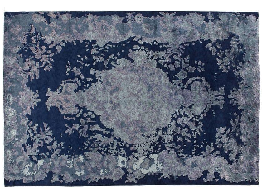 Patterned handmade rectangular rug MARIE ANTOINETTE DARK BLUE by Golran