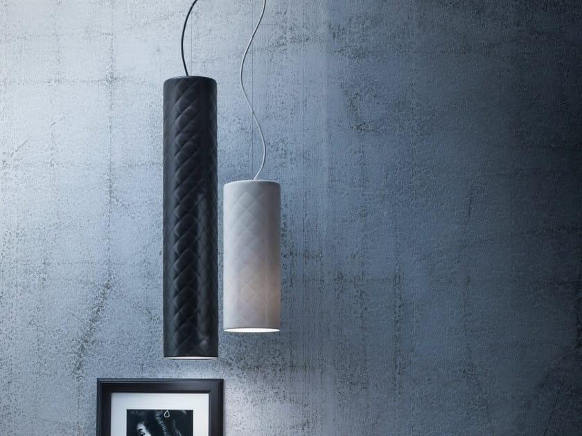 Imitation leather pendant lamp MARIÙ TUBE - LUCENTE - Gruppo Rostirolla