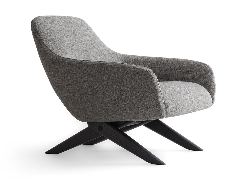 Upholstered fabric armchair with armrests MARLON | Fabric armchair - Poliform