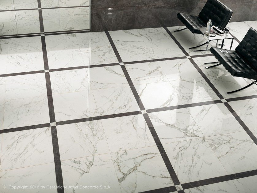 Black and white marble tile floor