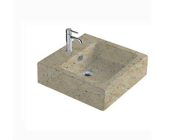 Square travertine washbasin MATERIA 48 | Travertine washbasin - GALASSIA
