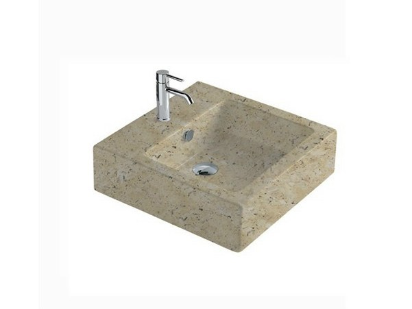 Rectangular travertine washbasin MATERIA 60 | Travertine washbasin by GALASSIA