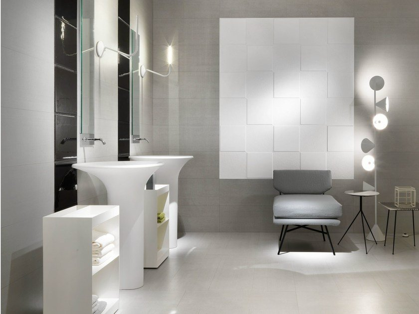 Porcelain stoneware wall tiles with concrete effect MATHEREA - CERAMICA SANT'AGOSTINO