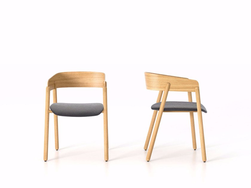 Wooden chair with armrests MAVA | Upholstered chair by Punt