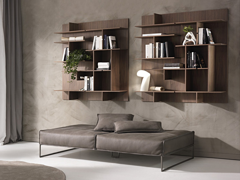 Wall-mounted sectional bookcase MAZE by Pacini & Cappellini