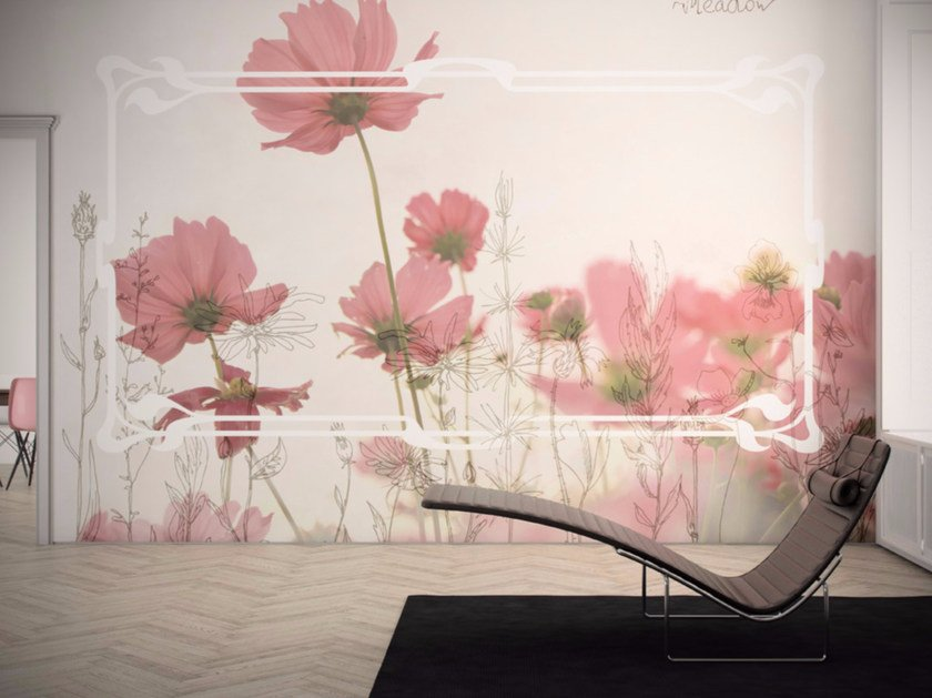Washable vinyl wallpaper with floral pattern MEADOW - GLAMORA
