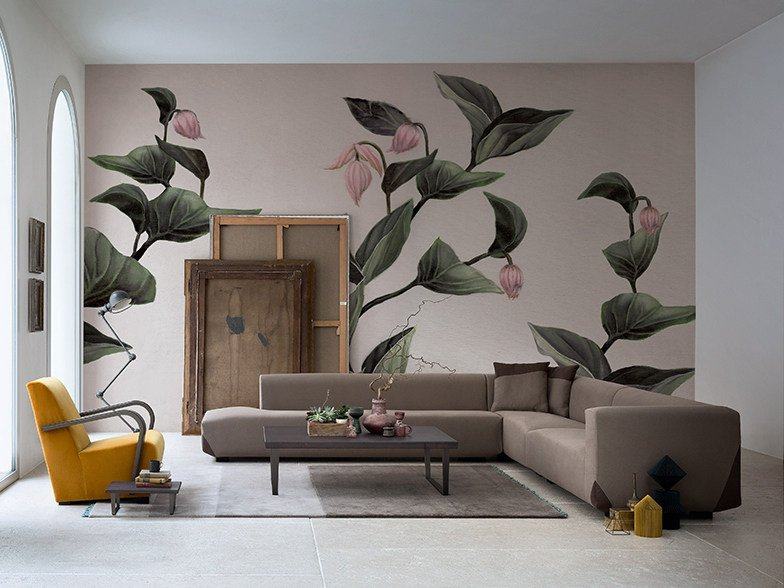 Panoramic wallpaper with floral pattern MEDINILLA by Inkiostro Bianco