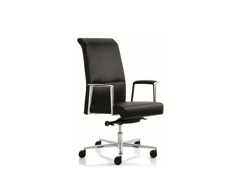 Executive chair with 5-spoke base with armrests MAX | Medium back executive chair - Emmegi