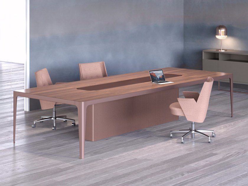 Lacquered meeting table with cable management GRAND MORE | Meeting table by ESTEL GROUP
