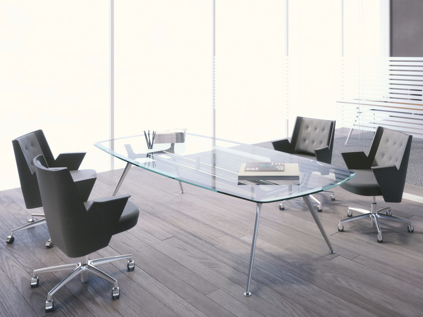 Glass and aluminium meeting table P016 | Meeting table by ESTEL GROUP