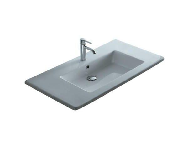 Inset rectangular ceramic washbasin MEG11 - 106 CM | Washbasin - GALASSIA