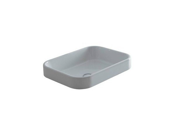 Semi-inset rectangular ceramic washbasin MEG11 - 50X38 | Washbasin - GALASSIA