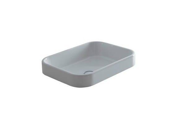 Semi-inset rectangular ceramic washbasin MEG11 - 60X38 | Washbasin - GALASSIA