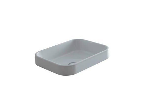 Semi-inset rectangular ceramic washbasin MEG11 - 70X38 | Washbasin - GALASSIA