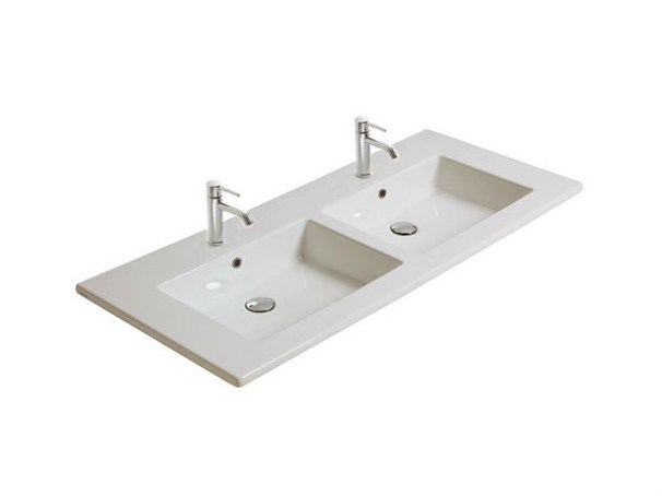 Double rectangular ceramic washbasin MEG11 | Double washbasin - GALASSIA