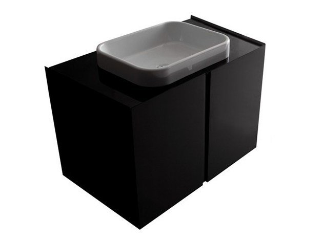 Lacquered wall-mounted MDF vanity unit with doors MEG11 | Wall-mounted vanity unit - GALASSIA
