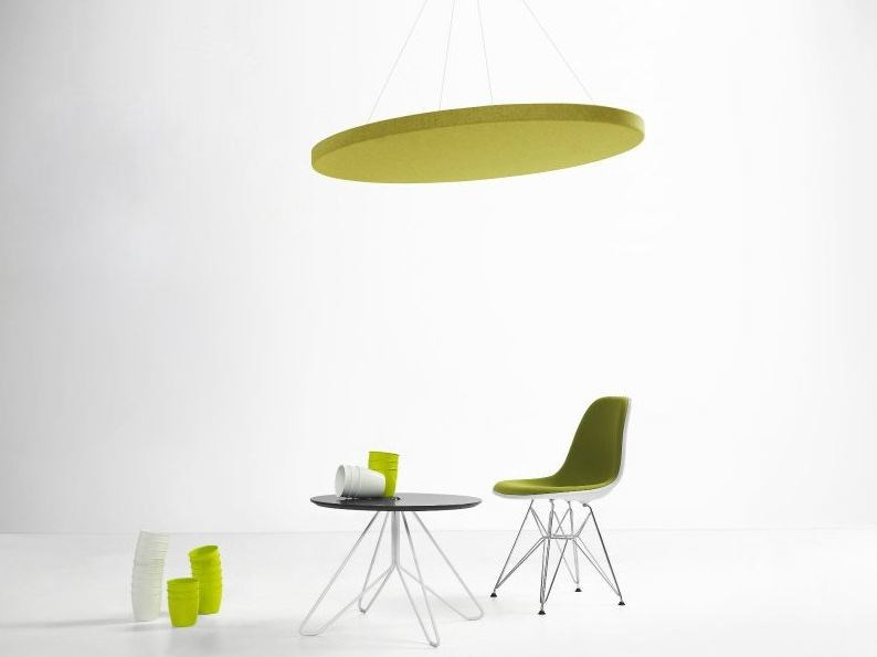 Felt acoustic ceiling clouds with Integrated Lighting MELODIA | Hanging acoustical panels - LvB Acoustics