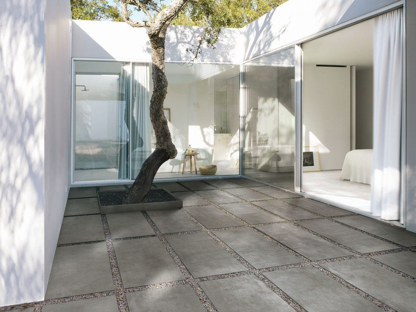 Porcelain stoneware outdoor floor tiles with concrete effect MEMENTO20 by MARAZZI