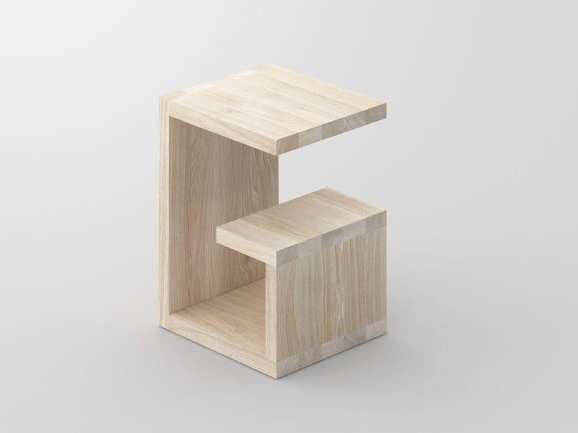 Tavolino basso rettangolare in legno massello con portariviste MENA | Tavolino rettangolare - vitamin design