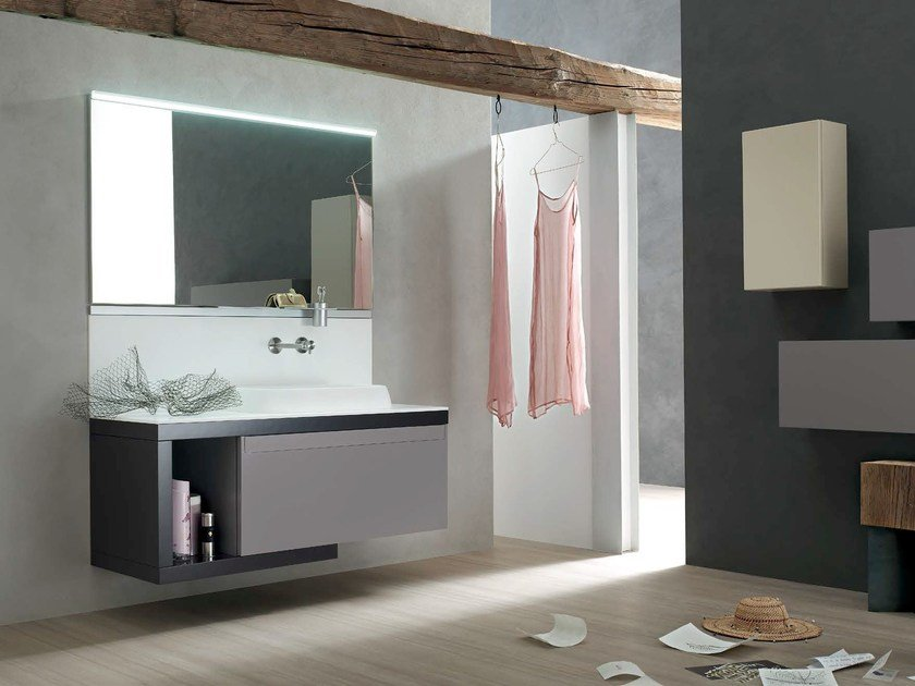 Lacquered single vanity unit META - COMPOSITION 6 by Arcom