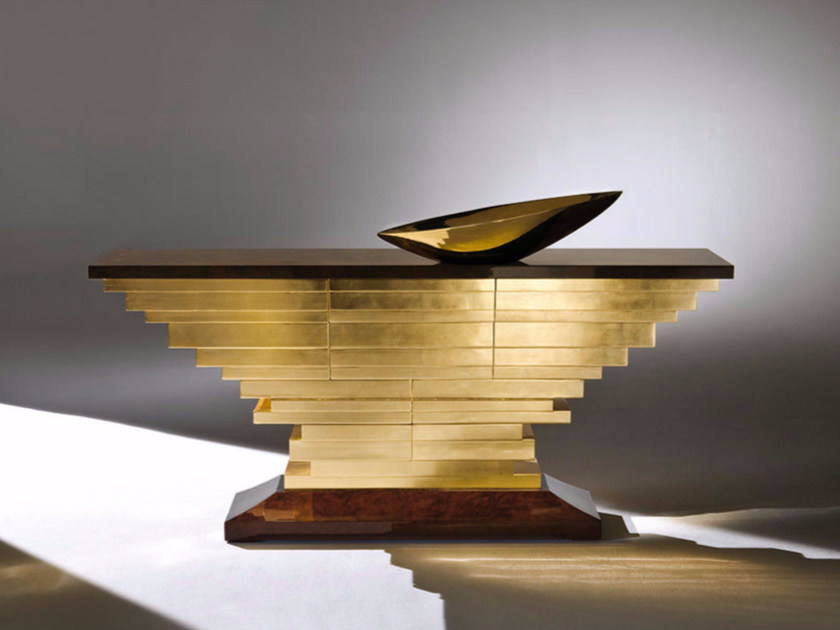 Free standing gold leaf chest of drawers DOM - Rozzoni Mobili d'Arte
