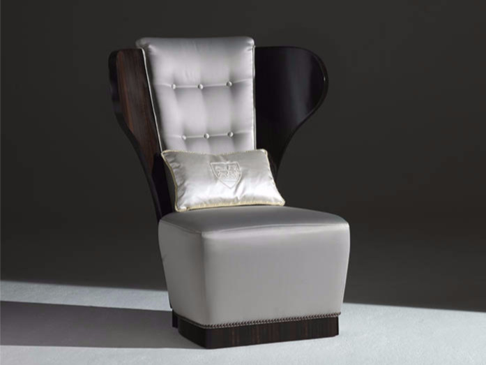 Tufted upholstered fabric wingchair TEO - Rozzoni Mobili d'Arte