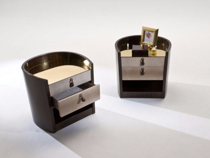 Wood veneer bedside table with drawers BIFFI - Rozzoni Mobili d'Arte