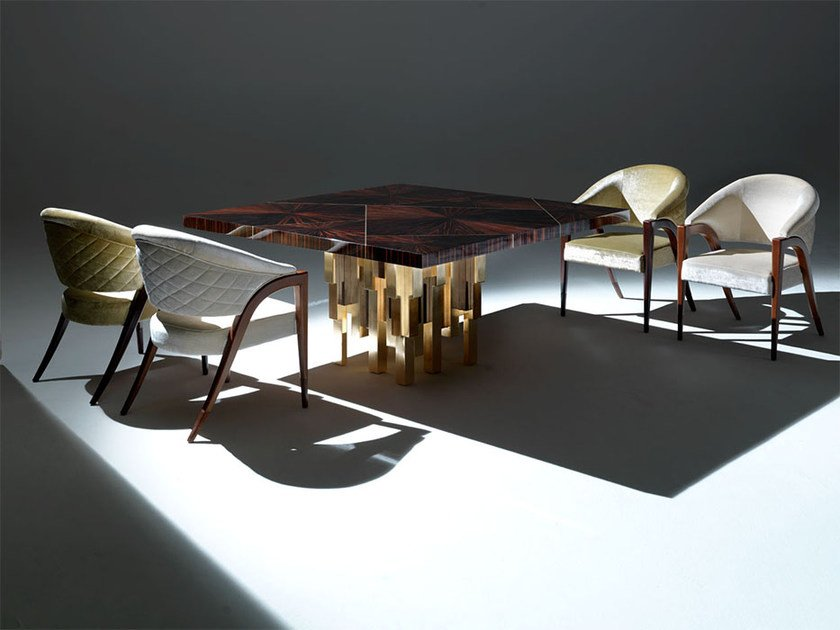 Square wooden living room table MERISI by Rozzoni