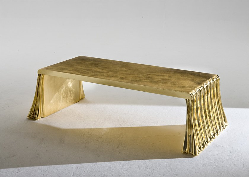 Low rectangular gold leaf coffee table MILANO - Rozzoni Mobili d'Arte