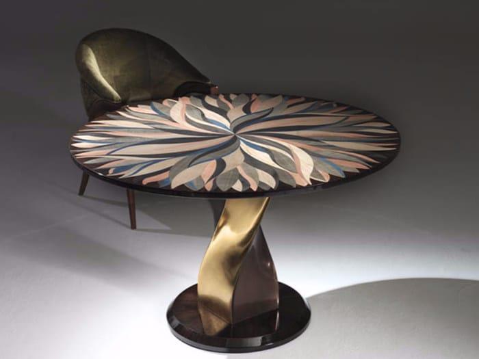 Round eucalyptus living room table BABILA - Rozzoni Mobili d'Arte