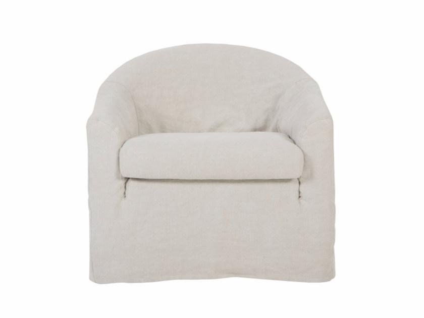 Upholstered linen armchair with armrests MIA | Linen armchair - SITS