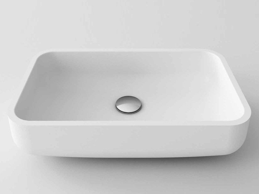 Countertop rectangular Stonelight washbasin MIKE by Flora Style