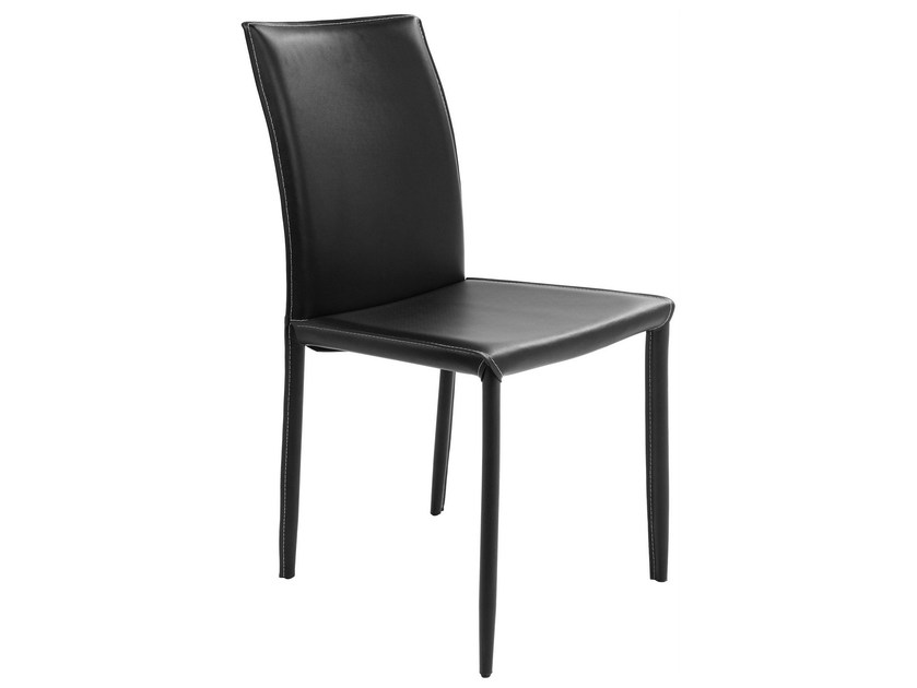 Upholstered leather chair MILANO BLACK - KARE-DESIGN