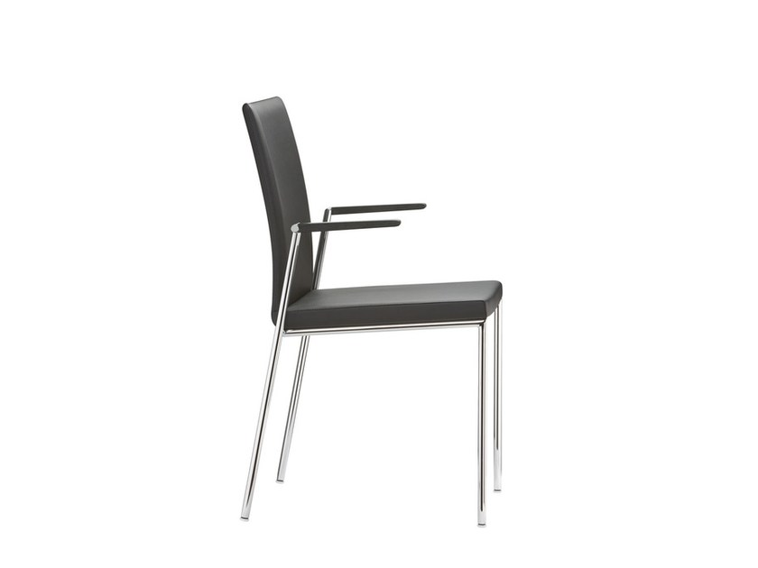 Stackable leather chair with armrests MILANOLIGHT COMFORT | Stackable chair by Brunner