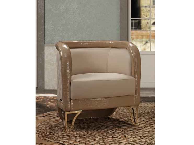 Upholstered leather easy chair with armrests MILLA | Easy chair - Formitalia Group