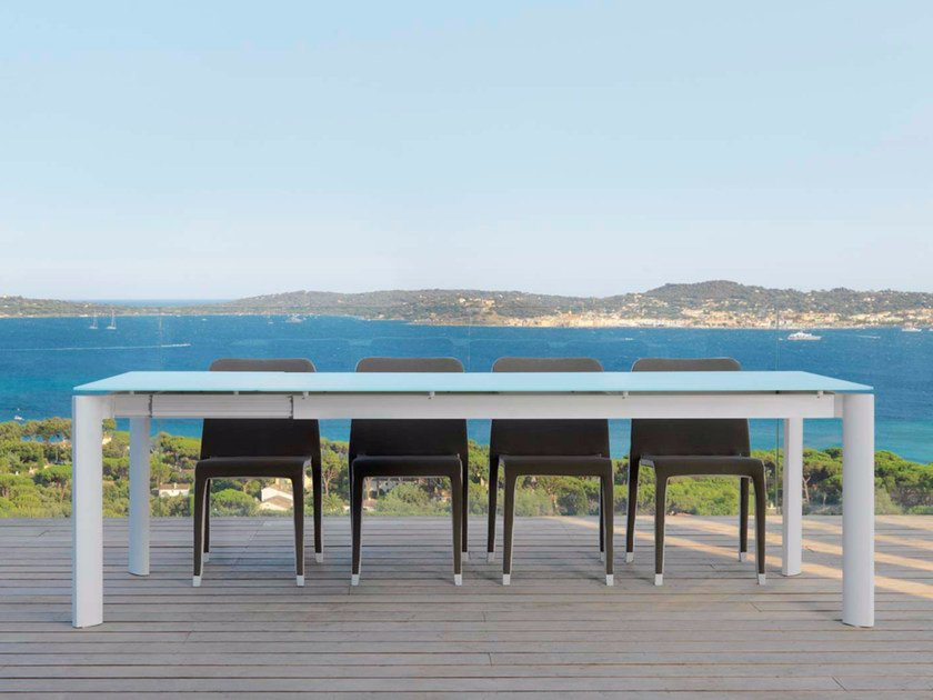 Extending glass and aluminium garden table MILO FABRIC | Table - Talenti