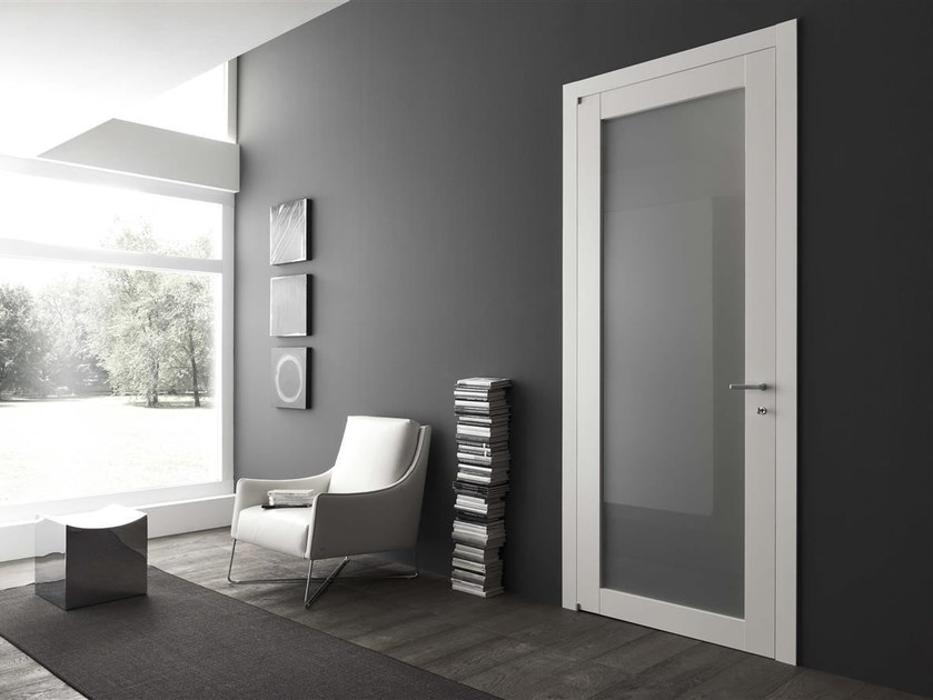 Hinged lacquered wood and glass door MILOS by Door 2000