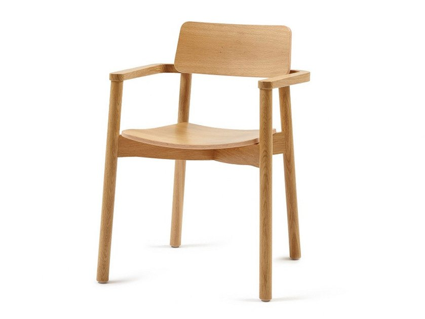 Wooden chair with armrests MINE + A - Z-Editions