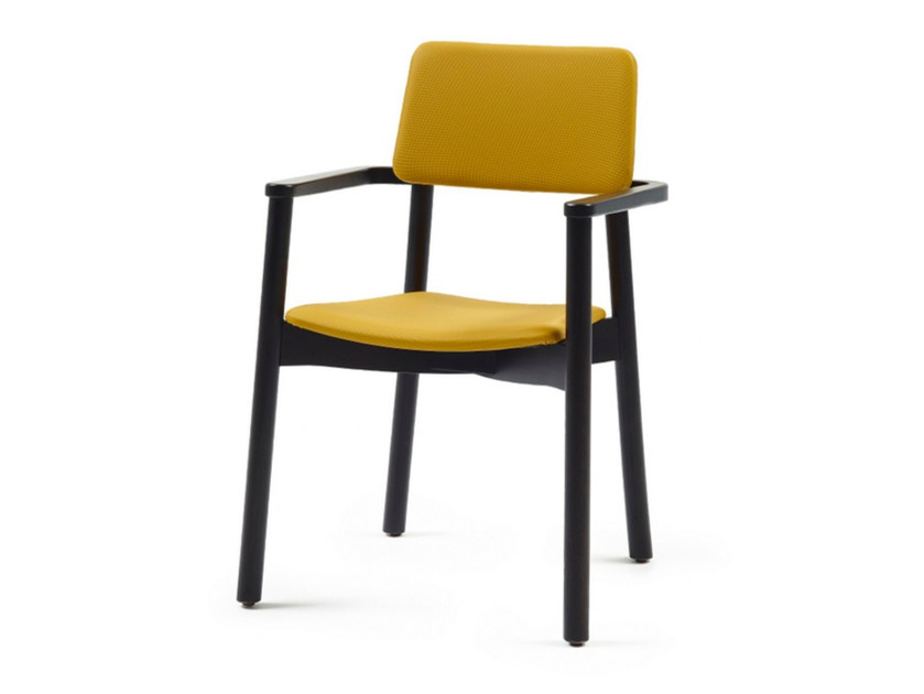 Upholstered stackable fabric chair with armrests MINE HB + A - Z-Editions