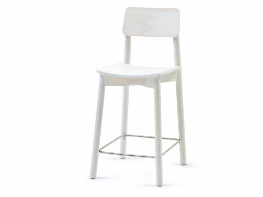 Sedia alta in legno con poggiapiedi MINE KL 62 - Z-Editions