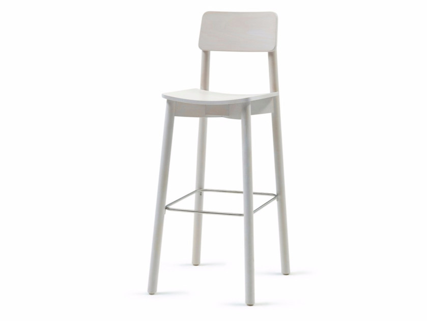 Wooden counter stool with footrest MINE KL 82 - Z-Editions