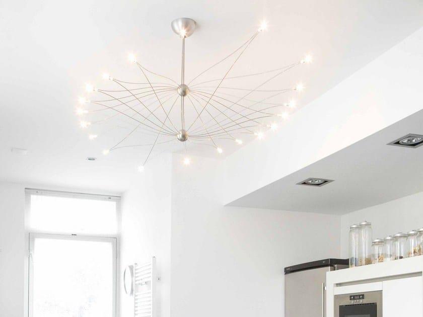 Halogen stainless steel pendant lamp Mini Mega SPOETNIK by FERROLIGHT DESIGN