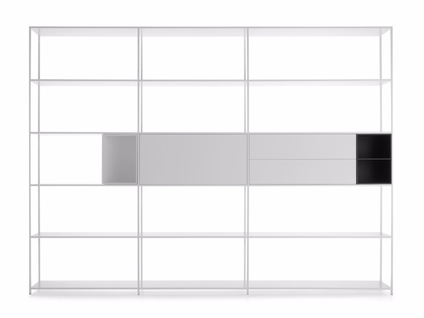 Sectional lacquered aluminium bookcase MINIMA 42 - MDF Italia